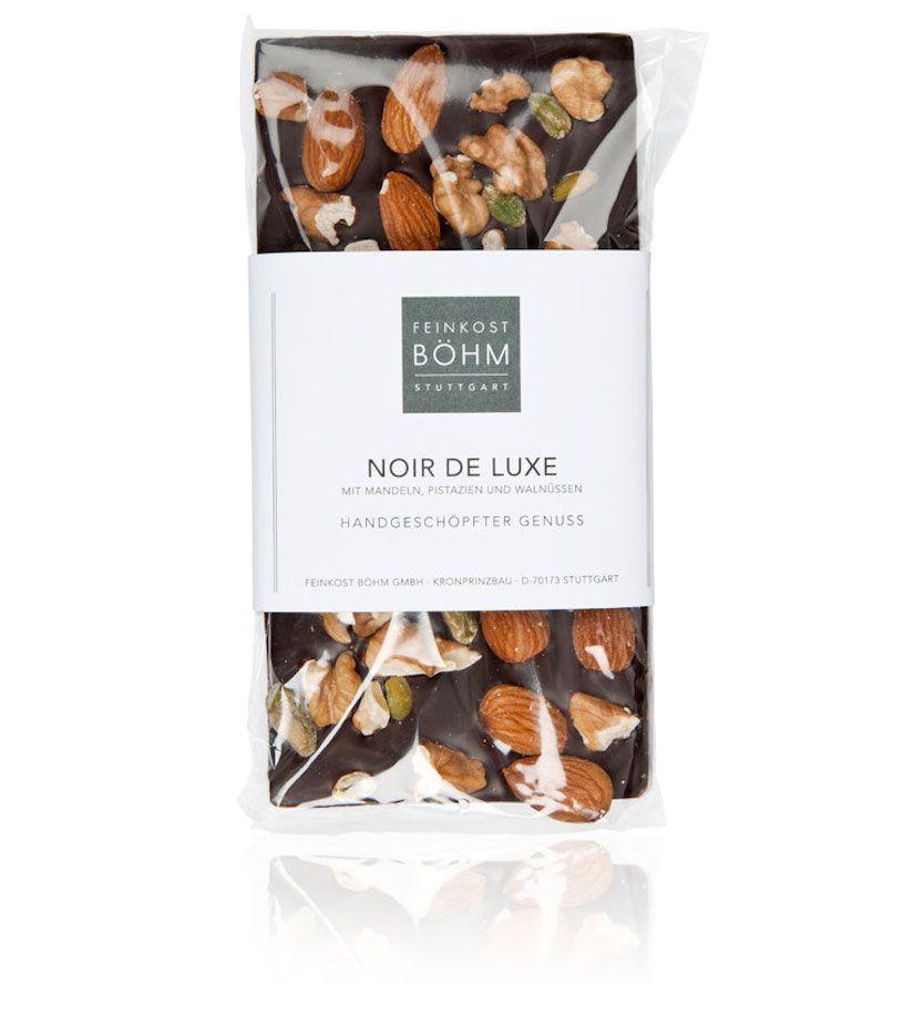 Feinkost Böhm Noir de Luxe Edelbitterschokolade mit Mandeln, Pistazien und Walnüssen 130g