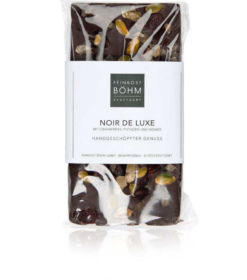 Feinkost Böhm Noir de Luxe Edelbitterschokolade mit Cranberries, Pistazien und Ingwer 130g