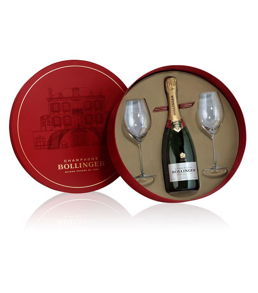 Bollinger Spezial Cuvée Brut Champagner in Geschenkverpackung mit 2 Gläsern 0,75l