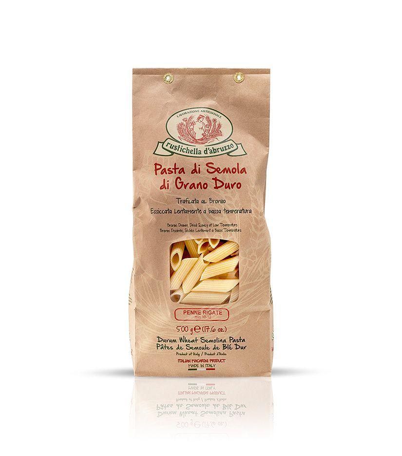 Rustichella d'Abruzzo Pasta di Semola di Grano Duro Penne Rigate Nudeln 500g
