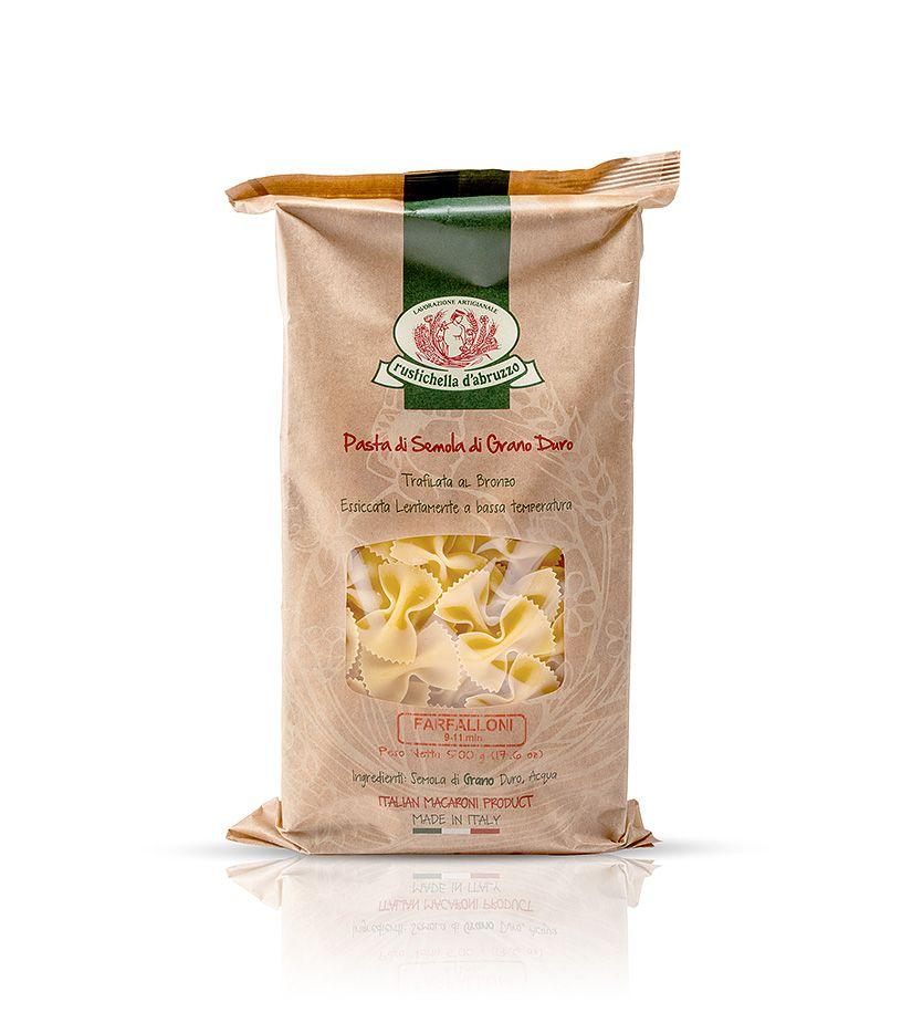 Rustichella d'Abruzzo Pasta di Semola di Grano Duro Farfalloni Nudeln 500g