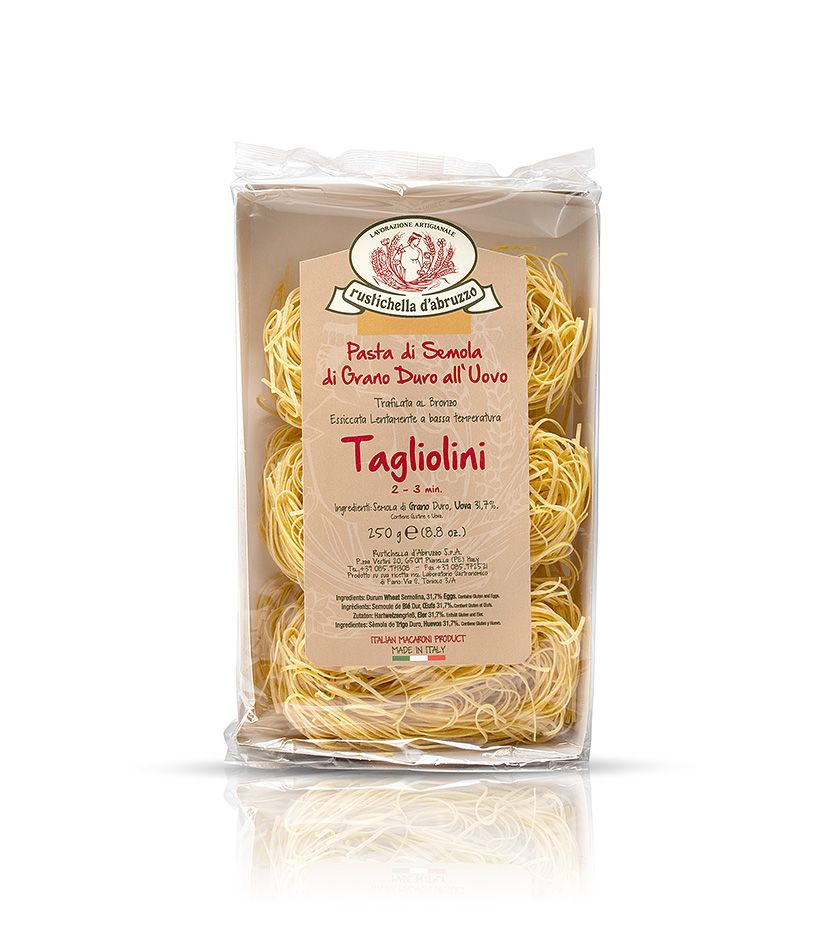 Rustichella d'Abruzzo Pasta di Semola di Grano Duro all'Uovo Tagliolini Nudeln 250g