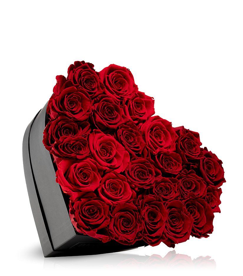 Rosenbox in Herzform (schwarz) groß - verschiedene Rosenfarben