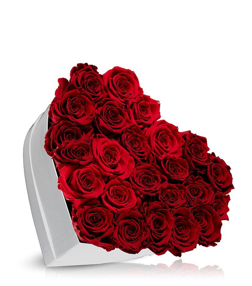 Rosenbox in Herzform (weiß) groß - verschiedene Rosenfarben