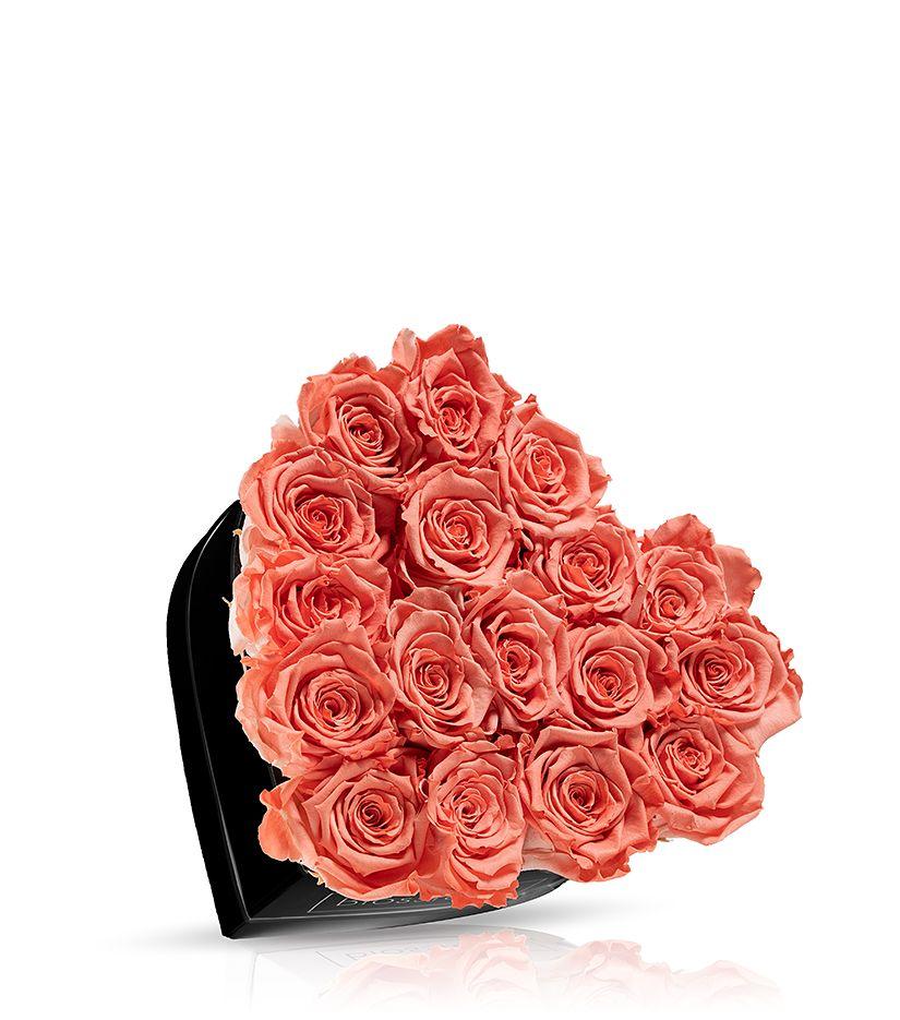 Rosenbox in Herzform (schwarz) klein - verschiedene Rosenfarben